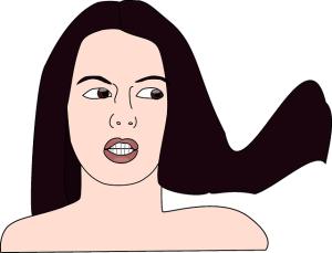 口を開いた女性